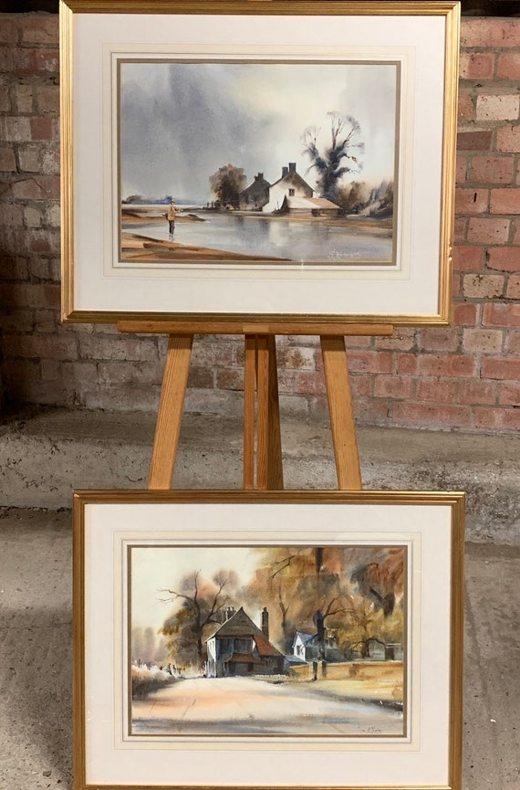 Wonderful Pair Of Original Watercolours By G Marler Fishing & Country Scenes