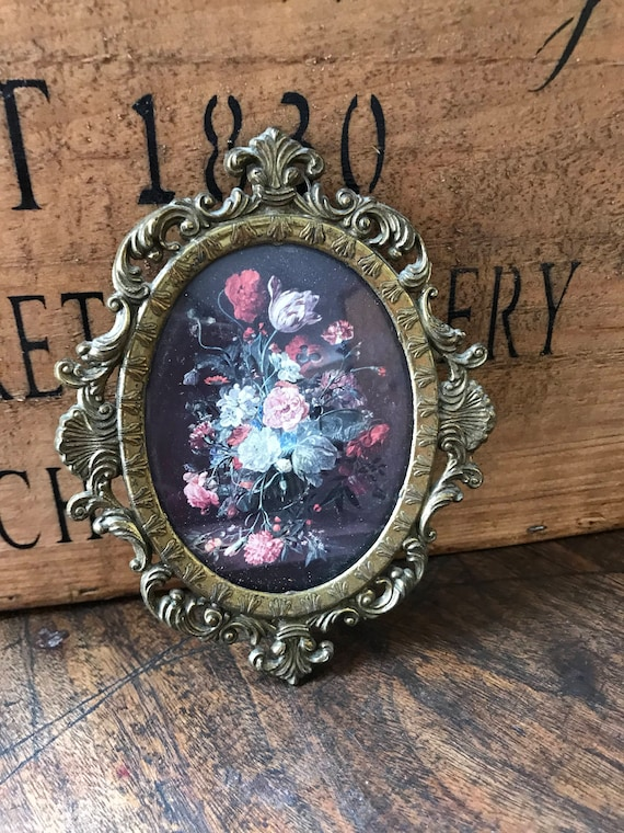 Vintage Miniature Italian Oval Framed Print of a Flower Display