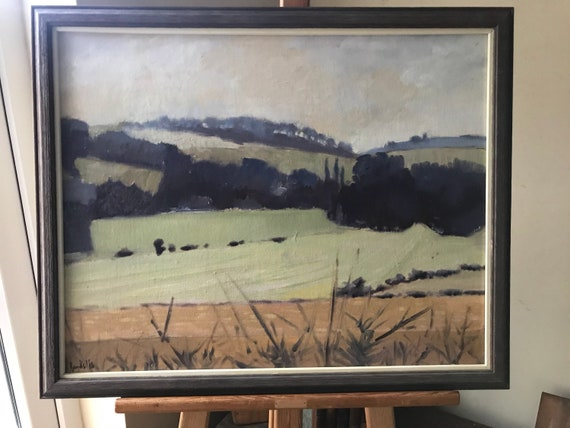 Oil On Board Landscape Nr Otford, Kent By Brian Banks Dated 1986