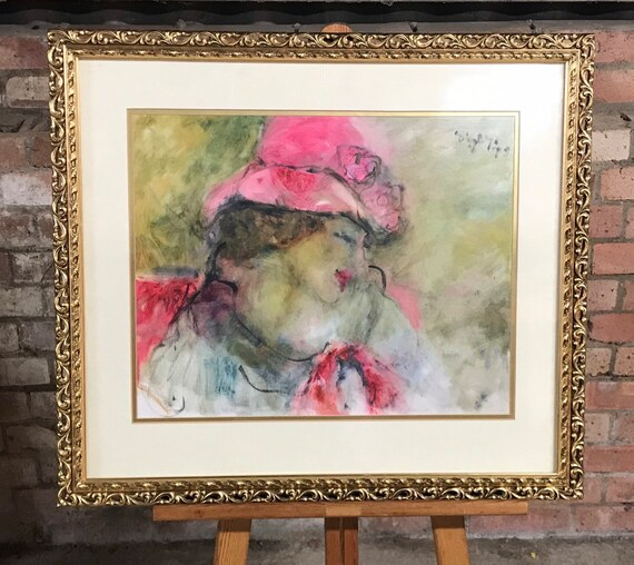 Beautiful Vintage Abstract Oil Painting Of An Art Deco Style Lady By Digby
