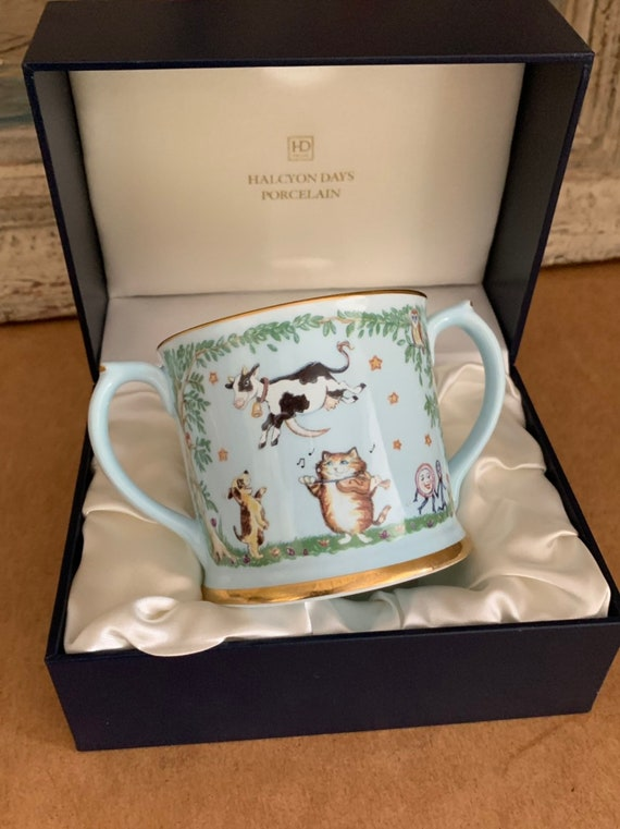 Rare Porcelain Halcyon Days Christening or Baby Shower Twin Handled Cup 'Hey Diddle Diddle, The Cat and the Fiddle....' Nursery Rhyme