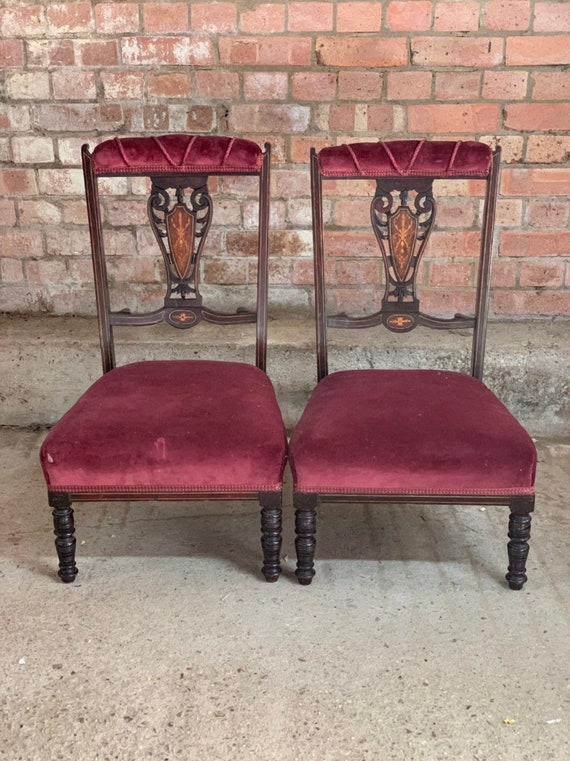 Pair Of Beautiful Edwardian Inlaid Low Parlour / Pre-Dieu Chairs on Turned Legs