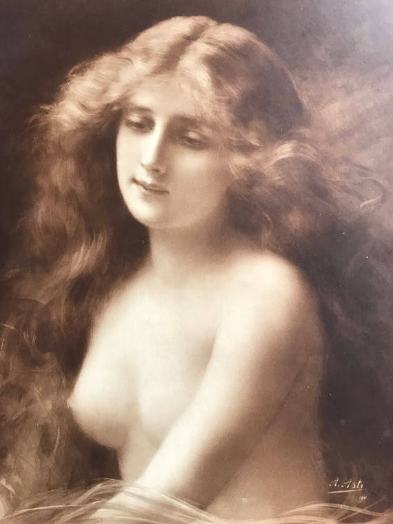 Gilt Framed Antique Angelo Asti Nude Lithograph Portrait Dated 1901