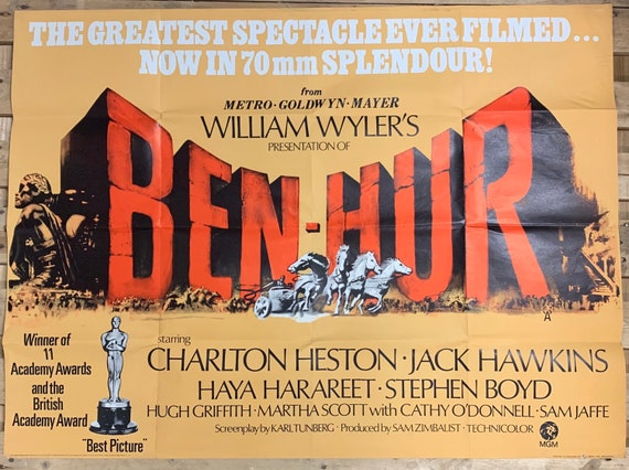Vintage Cinema Poster 'Ben Hur' With Charlton Heston Printed By W E Berry Of Bradford