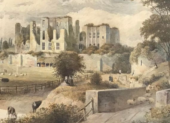 Beautiful Original 19th Century Watercolour Of Kenilworth Castle By William Hough