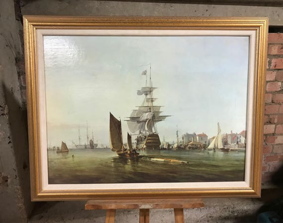 Large Vintage Oiligraph Of A 19th Century Galleon Ship In The Harbour