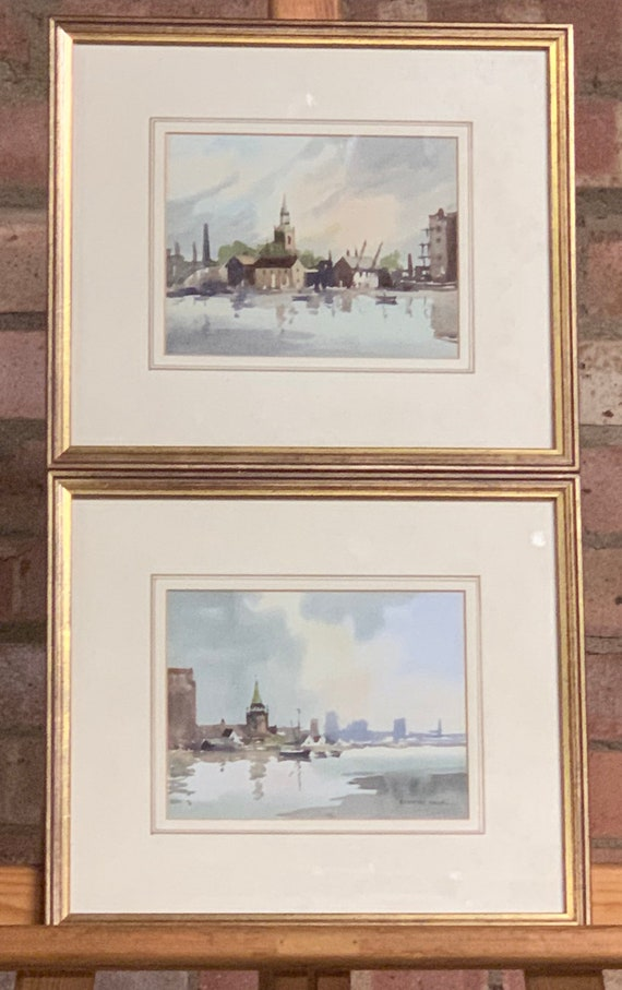 Beautiful Pair Of Original Watercolours By Sydney Vale Depicting Thames Areas of London