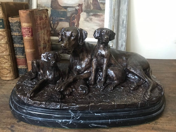 Stunning Large Quality Bronze Dog Sculpture On A Marble Plinth Signed Barrie