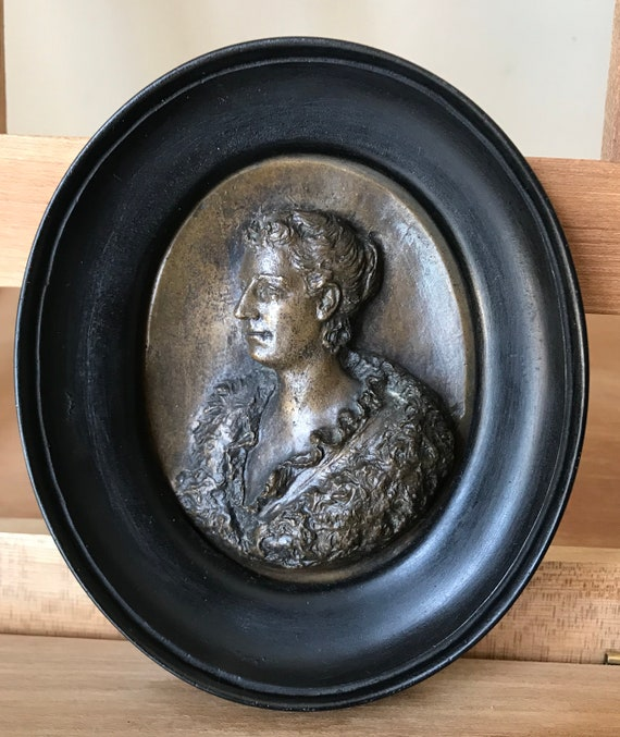 Beautiful 19th Century Bronze Miniature Portrait Of A Lady In An Oval Ebonised Frame