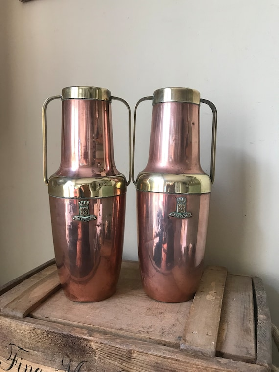 A Fabulous Pair Of French Lisieux Arts and Craft Art Nouveau in Style Copper and Brass Twin Handled Vases