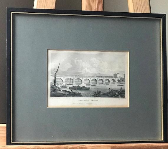 Framed 19th Century Engraving of Waterloo Bridge London