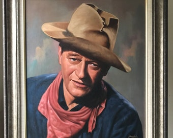 Superb Original John Wayne Oil Painting dated 1966