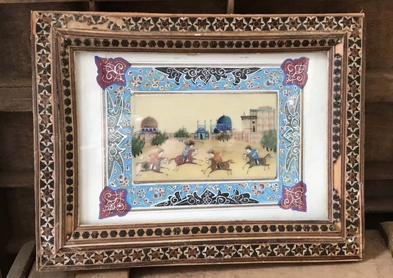 Wondeful Small Antique Inlaid Handmade Framed Indian Painting Depicting People on Horseback Playing Polo with Temples in the Background
