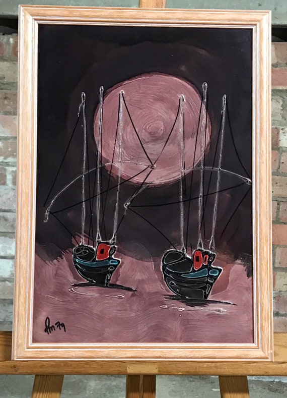 Original Mixed Media Oil And Glazed Abstract Artwork Of Boats Under a Full Moon