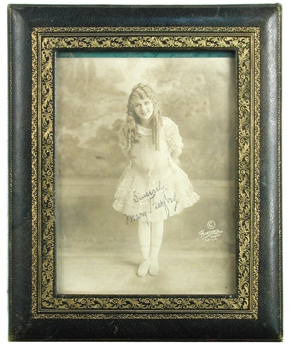 Wonderful Original Leather Framed Signed Photograph of Mary Pickford