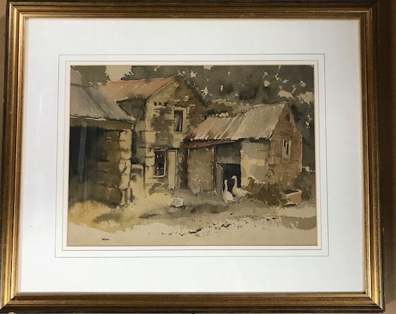 Wonderful Original Watercolour 'The Old Farmhouse' Boswergy Farm Nr St Erth in Cornwall, By Wendy Jelbert
