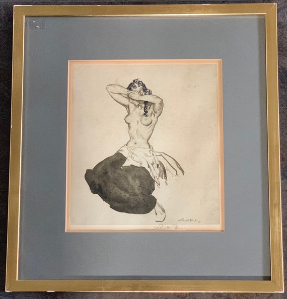 Wonderful Rare Signed Sir William Russell Monochromatic Lithograph Print on Woven type paper.