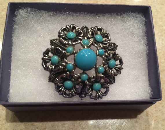 c1930's White Metal and Turquoise Stone Brooch