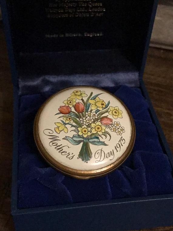 Rare Halcyon Days Enamels Bilston & Battersea Mother's Day 1975 Trinket Box with Presentation Box