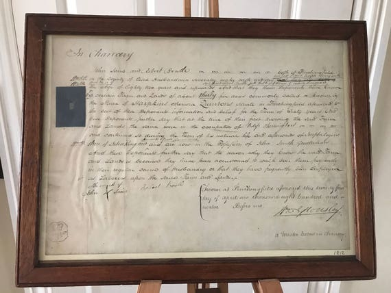 Antique 1823 Handwritten Framed Chancery Law Document With II Shillings VI Pence Seal