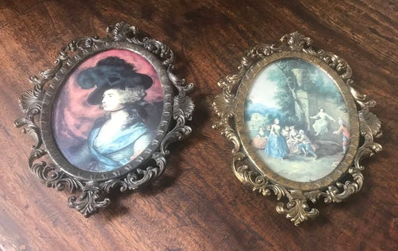 Pair if Vintage Italian Ornately Oval Framed Prints