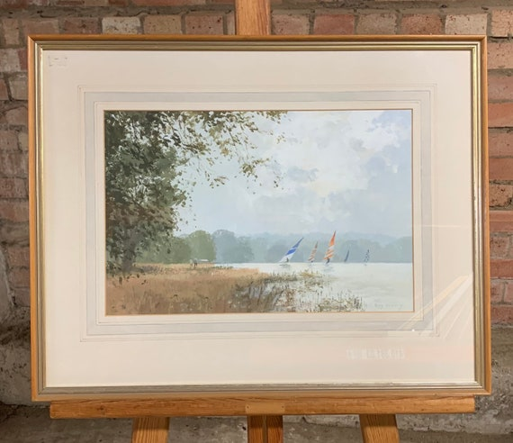 Original Framed And Glazed Watercolour Of Windsurfers On A Lake By Roy Perry