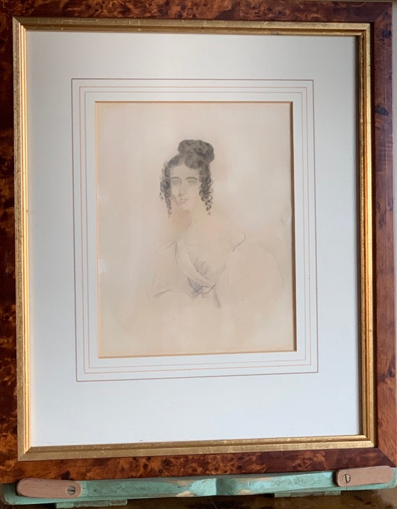 18th Century Georgian Watercolour Portrait Of A Lady Mounted in Burr Walnut Style Frame