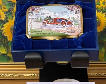 Beautiful Limited Edition Of 100 Halcyon Days Trinket Box 'Grand Prix Le Sarthe in 1906'