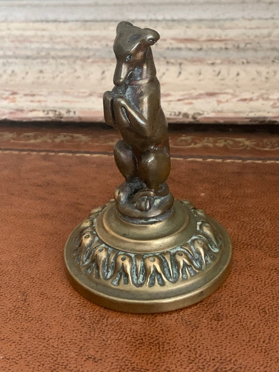 Antique Victorian Bronze And Brass Seated Begging Greyhound / Whippet Dog Pipe Tamper Figurine On Decorative Brass Base
