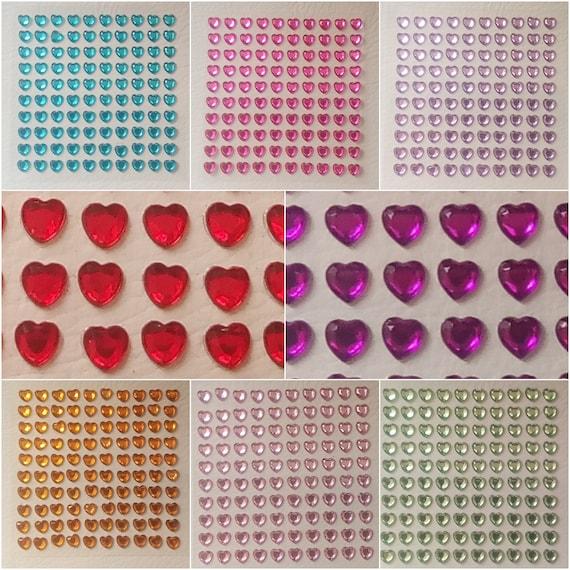 Blue Diamante Self Adhesive Heart Stickers Mixed Size Eleganza Rhinestone Gem
