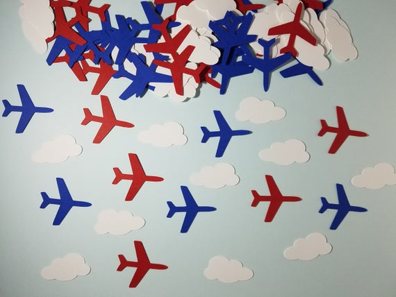 100 Red blue CARD nautical ship anchor Table party Confetti pirate birthday