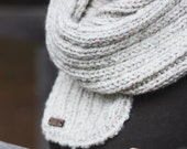 Oversized Wool Blend Chunky Knit Scarf  |  True North Scarf in Grain