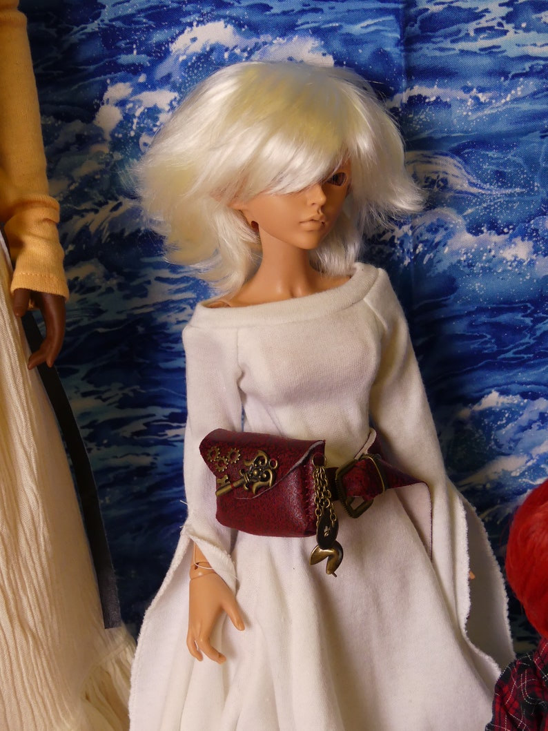 Smart Doll or BJD Adventurer/'s Burgundy Owl Steampunk Pouch and Belt Choice of Fit for Ball-Jointed Dolls Smart Dolls 13 14 16