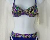 Vintage 80s Womens Catalina 2 Piece Swim Suit Size 6 Purple with Metallic Gold Swirls Bikini Swimwear New Old Stock Made in USA