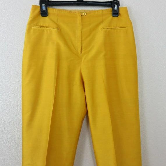 Vintage 90s Womens Mustard Yellow Silk Designer Pa