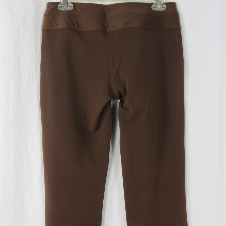 Cach\u00e9 Brown Dress Pants Womens Size 4 Vintage 90s Wide Double Snap Waistband Bootcut Flat Front Made in USA Satin Shine Polyester Blend