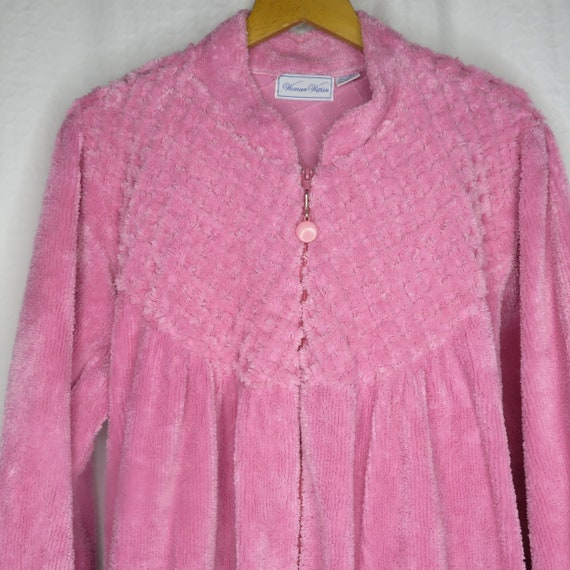 Vintage Woman Within Pink Chenille Robe House Coat