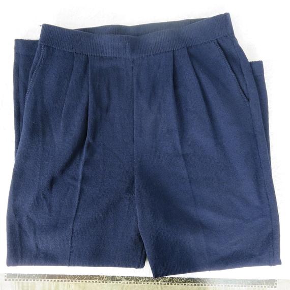 Vintage 80s St John Navy Blue Santana Knit Pants … - image 3