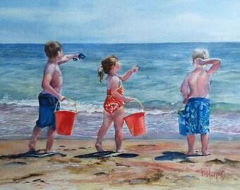 portrait from photo, Custom watercolour portrait, Precious moments, beach scene