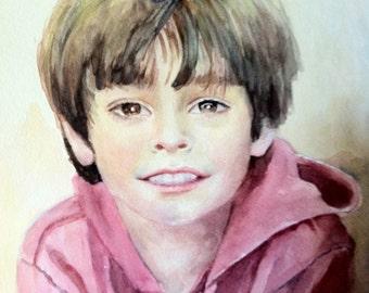 portrait from photo, child custom watercolour portrait
