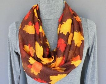 b9b187afc07d6 Fall Autumn Leaves Pumpkins Leaf lightweight gauzy infinity loop cowl  Thanksgiving Halloween long scarf Brown orange gauze scarf