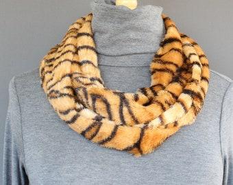 6484f93d29 Brown Black tiger stripe faux fur circle infinity endless loop long scarf  black brown stripes animal print scarf