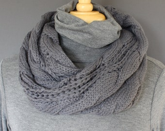 eb687ba5e34fd Dark Grey cable knit infinity scarf soft chunky knit circle endless loop  muffler collar short scarf circular scarf cabled scarf fall winter