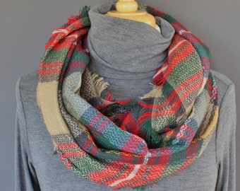 Red Tan Teal Green Plaid infinity scarf pattern soft circle blanket scarf fringe plaid check pattern super soft tartan plaid aqua teal green