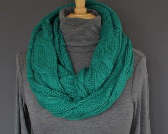 Dark Teal Jade Green cable knit infinity scarf soft chunky knit circle endless loop long circular cabled scarf fall winter teal jade green