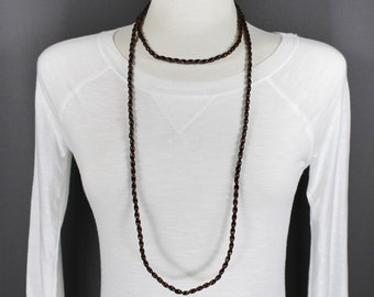 "Dark Brown wood bead super extra long beaded necklace 54"" long double wrap strand"