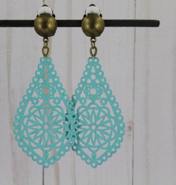 Clip On earrings turquoise green patina brass bronze teardrop Earrings Boho Chic Moroccan Medallion Dangle Earrings 2.25 long