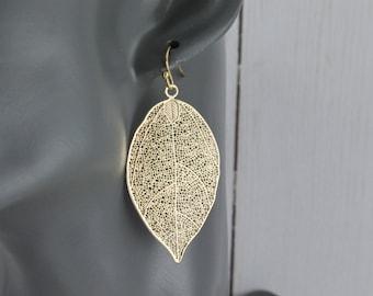 """Gold leaf earrings filigree leaf earrings dangle leaves jewelry lightweight earrings 2.25"""" long lightweight"""