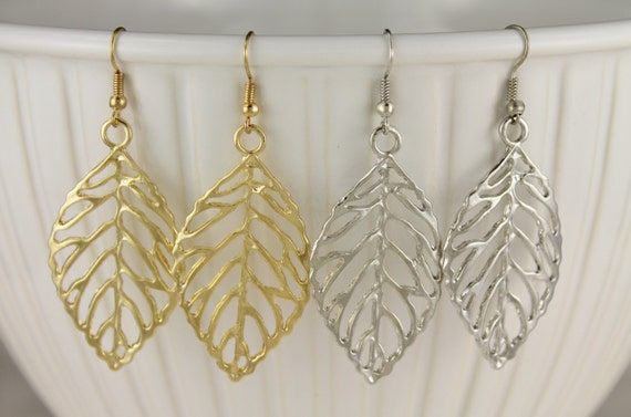 5aa196beca0b6f Outline leaf dangle earrings leaves cut out outline filigree | Etsy