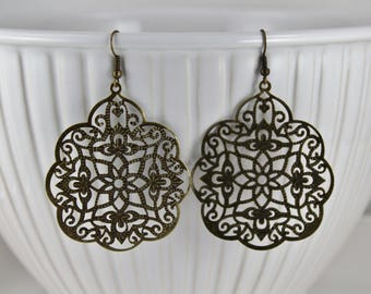 "Gold Bronze filigree earrings teardrop lace cut out medallion dangle drop french hook 2 5/8"" long lightweight comfortable Big Huge"